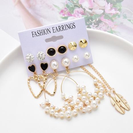 ensemble de 6 paires de boucles d'oreilles simples et rétro créatives NHSD361574's discount tags