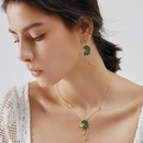 personality ethnic Indian green diamond sapphire long tassel earrings NHLJ361635