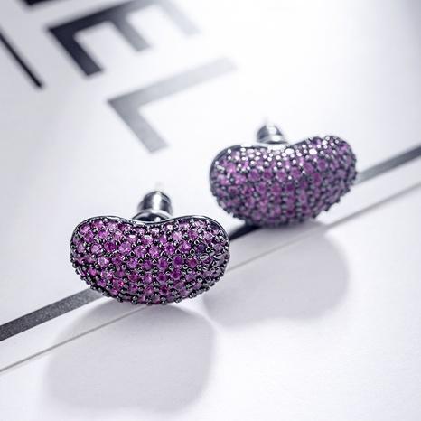 Boucles d'oreilles en forme de fèves à la gelée de zircon micro-incrusté de style coréen NHLJ361637's discount tags