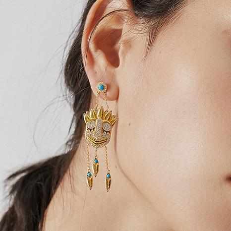 Personnalité mystérieuse indienne pompon imitation saphir masque boucles d'oreilles NHLJ361636's discount tags