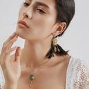 personality mysterious Indian tassel imitation sapphire mask earrings  NHLJ361636
