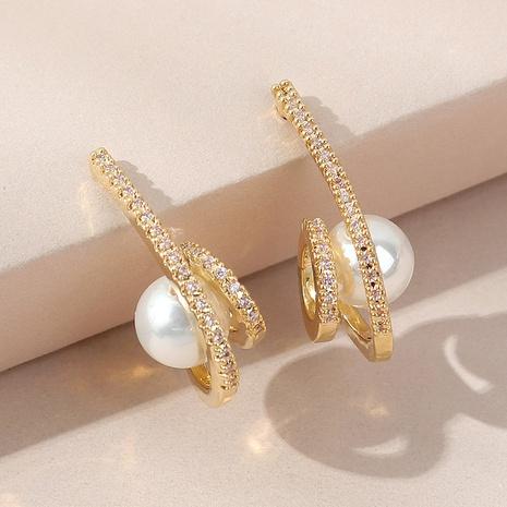 Boucles d'oreilles en plaqué or avec zircon micro-incrusté de perles simples à la mode coréenne NHLJ361640's discount tags