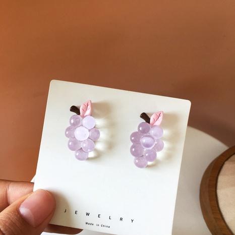 Boucles d'oreilles de style coréen de raisin violet mignon NHBY361651's discount tags