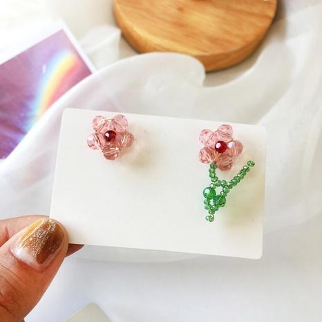 jolies boucles d'oreilles créatives en cristal de fleurs tissées à la main NHBY361657's discount tags
