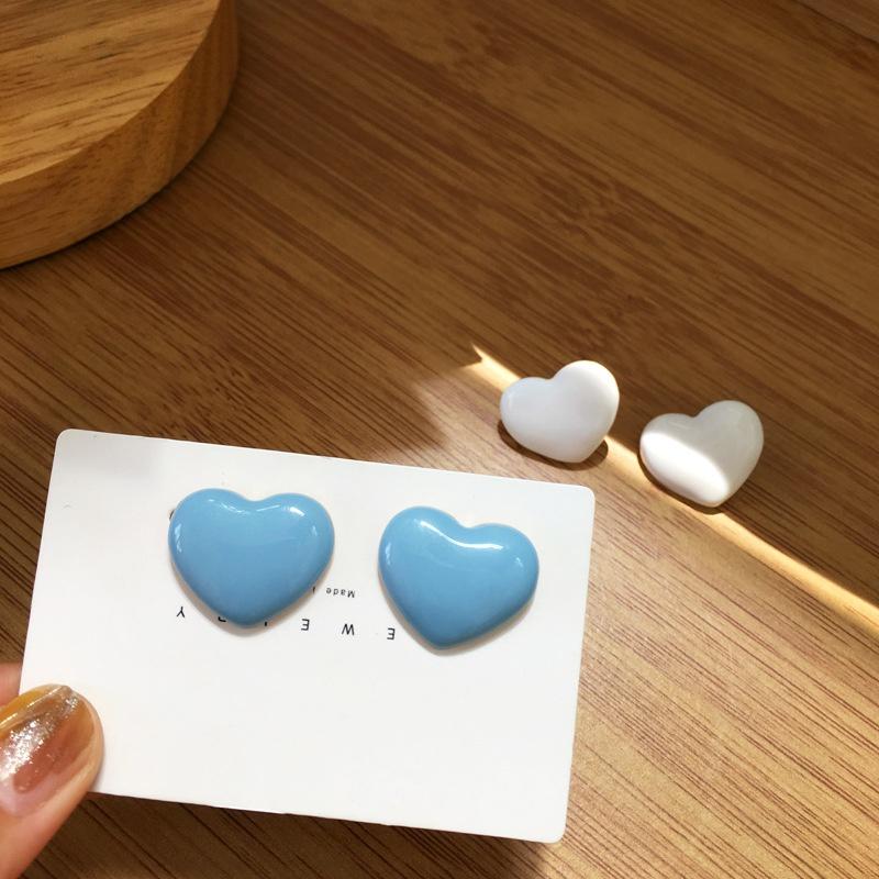Simple Heart Shape Dripping Oil Earrings  NHBY361667