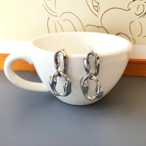 boucles d'oreilles irrégulières simples en métal exagéré NHBY361668's discount tags