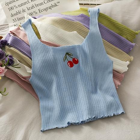 Camisole en tricot cerise brodée en gros NHZN361797's discount tags