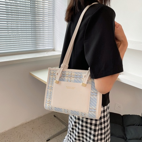 nihaojewelry fashion plain checked shoulder tote bag wholesale  NHWH375686's discount tags