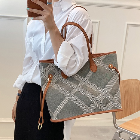 Nihaojewelry wholesale accessories striped plaid large capacity tote bag  NHLH375687's discount tags