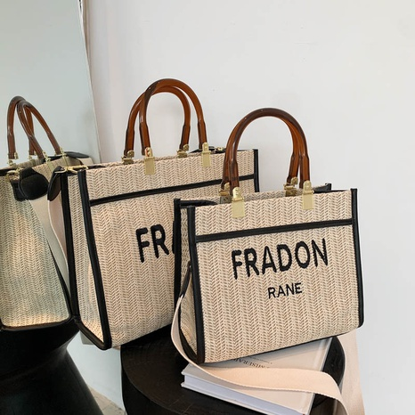 wholesale accessories large capacity letter straw woven tote bag Nihaojewelry NHLH375796's discount tags