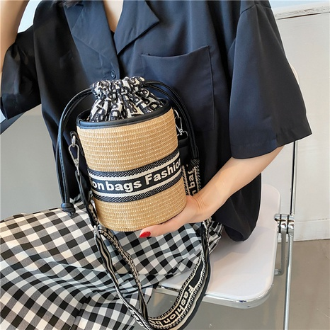 wholesale accessories straw woven embroidery letters bucket bag Nihaojewelry NHLH375804's discount tags