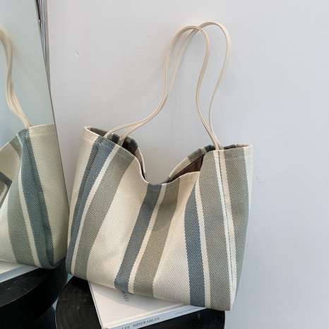 wholesale accessories contrast color striped canvas large capacity shoulder bag Nihaojewelry NHJZ375875's discount tags