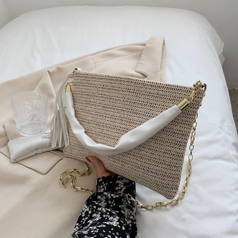 wholesale accessories straw woven chain tassel messenger bag Nihaojewelry NHTG375896's discount tags