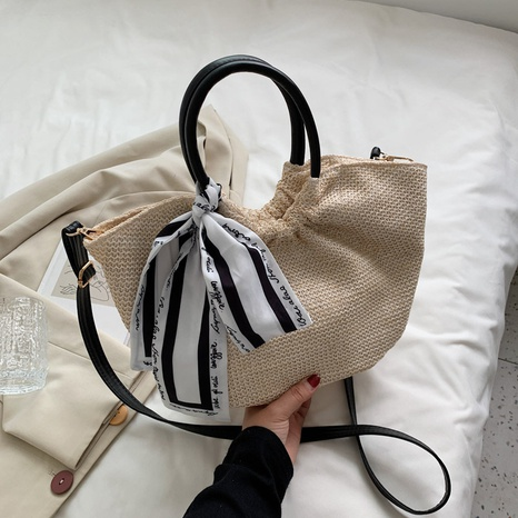 wholesale accessories straw large-capacity silk scarf messenger bag Nihaojewelry NHTG375897's discount tags