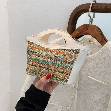 nihaojewelry retro fashion shoulder color matching straw woven bag wholesale  NHXC375971's discount tags