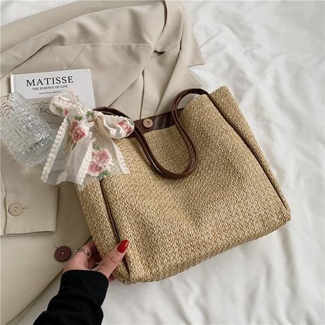 Nihaojewelry fashion creative silk scarf straw shoulder bag Wholesale NHXC375997's discount tags