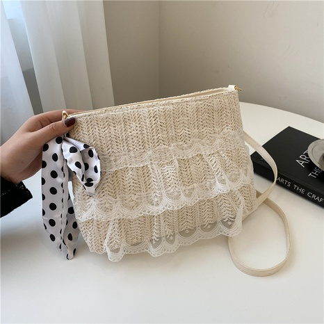 nihaojewelry korean style silk scarf messenger straw small square bag wholesale  NHXC376004's discount tags