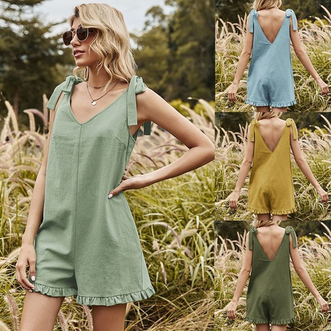 Nihaojewelry Casual Bowknot Straps Green Jumpsuit Shorts Wholesale  NHDF376130's discount tags