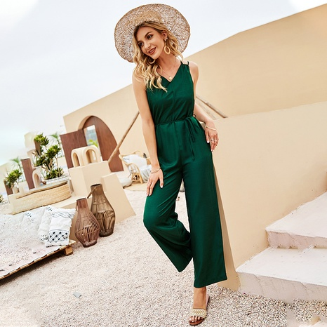 Nihaojewelry Casual Green Sling Sleeveless Jumpsuit Pants Wholesale  NHDF376137's discount tags