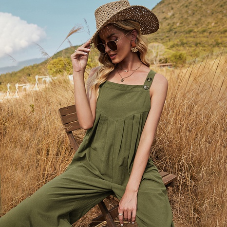 nihaojewelry casual loose solid color sling sleeveless jumpsuit wholesale NHDF376135's discount tags