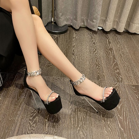 Nihaojewelry fashion platform chain rhinestone stiletto sandals Wholesale NHSO376161's discount tags