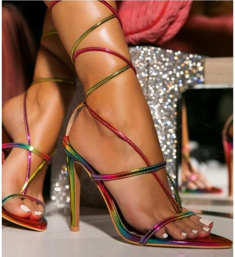 wholesale accessories color matching stiletto strap clip toe sandals Nihaojewelry NHSO376163's discount tags
