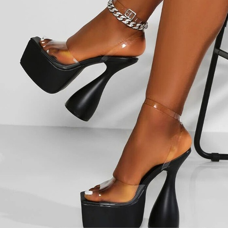 wholesale accessories transparent shaped high-heel patent leather sandals Nihaojewelry NHSO376166's discount tags
