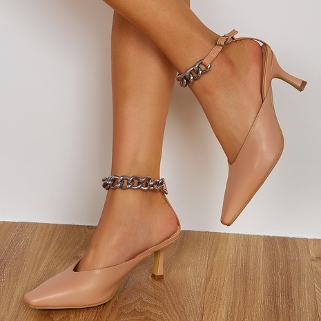 wholesale word with chain square toe high-heeled sandals Nihaojewelry NHSO376171's discount tags