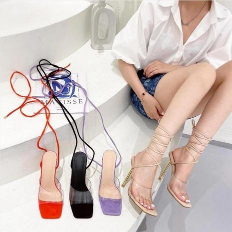 wholesale Rome transparent square toe strap stiletto Nihaojewelry NHSO376175's discount tags