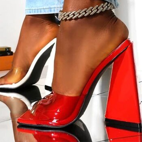 wholesale square toe triangle PVC transparent high-heel Nihaojewelry NHSO376177's discount tags
