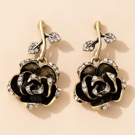 Nihaojewelry joyas al por mayor pendientes de diamantes rosas negros retro NHGY376601's discount tags