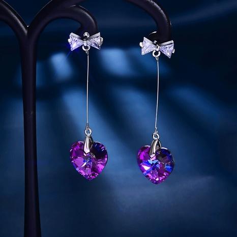 Nihaojewelry joyas al por mayor pendientes de corazón de diamantes de cristal de color largo NHBOJ376579's discount tags