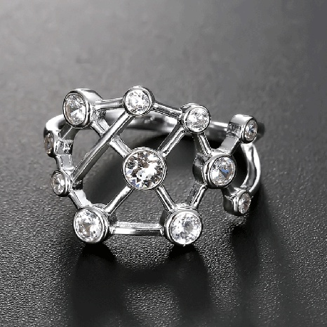 fashion 925 silver diamond hollow ring wholesale  NHTF361867's discount tags