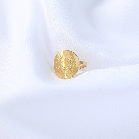 fashion Devil's eye open adjustable golden stainless steel ring NHYUN361874's discount tags