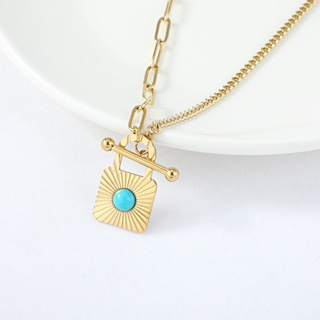 retro fashion stitching OT buckle turquoise gold necklace  NHYUN361876's discount tags