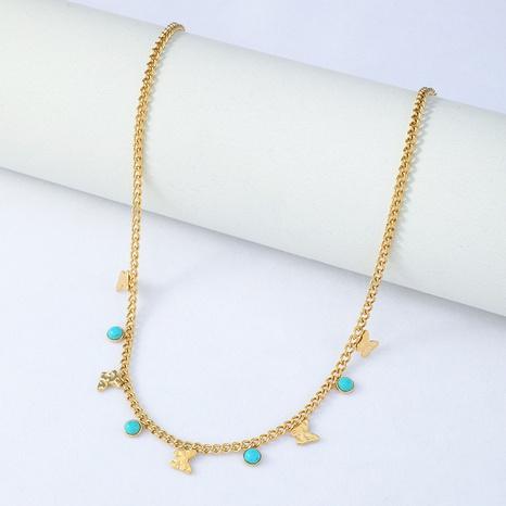 collier en acier inoxydable turquoise papillon doré rétro NHYUN361877's discount tags