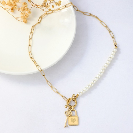Retro simple pearl stitching OT buckle necklace NHYUN361878's discount tags