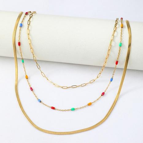 collier à trois couches en os de serpent de personnalité de la mode NHYUN361879's discount tags