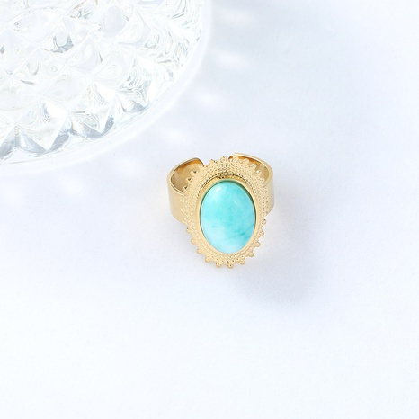 retro oval turquoise inlaid golden stainless steel open ring NHYUN361880's discount tags