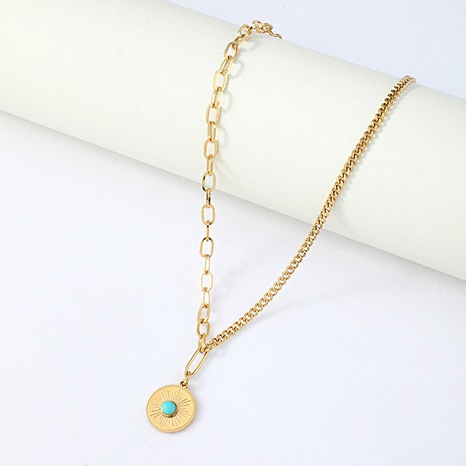 retro bohemian turquoise stainless steel necklace   NHYUN361882's discount tags