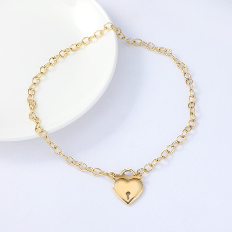 trendy creative golden love pendant OT buckle necklace  NHYUN361884's discount tags