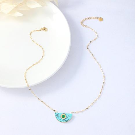 collier en or turquoise semi-circulaire de personnalité de la mode NHYUN361885's discount tags