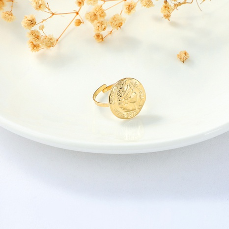 fashion golden adjustable irregular round queen ring NHYUN361887's discount tags