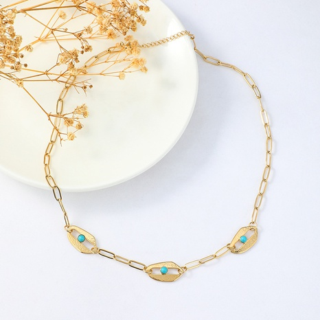 simple personality inlaid turquoise necklace  NHYUN361888's discount tags