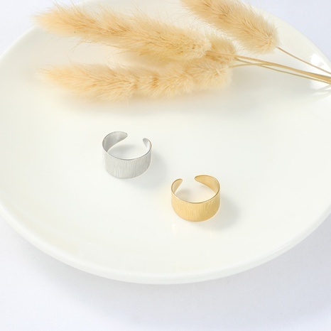 simple carved stainless steel gold open ring NHYUN361889's discount tags