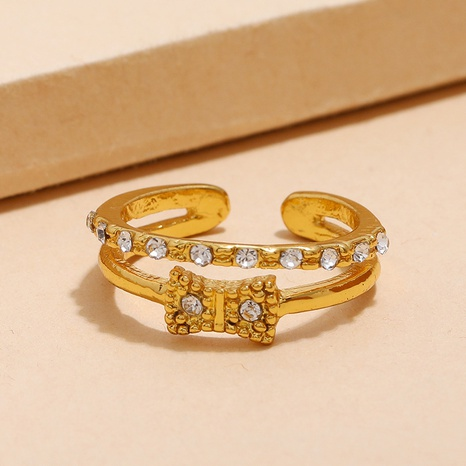 fashion double-layer diamond bow opening adjustable ring NHKQ361930's discount tags