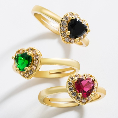 fashion heart-shaped gemstone brass micro-inlaid zircon open ring  NHLN362010's discount tags