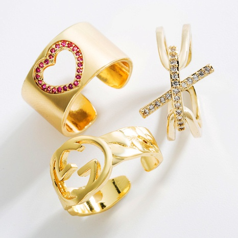fashion geometric heart-shaped brass inlaid zircon open ring NHLN362011's discount tags