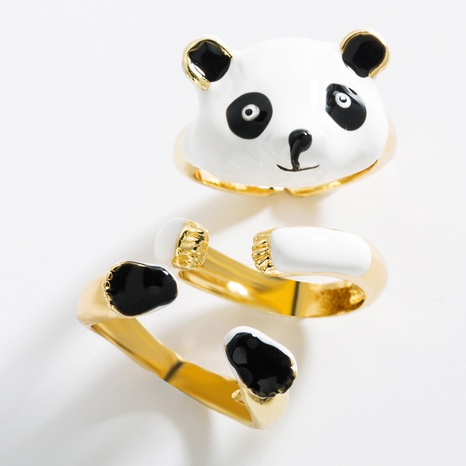 fashion copper gold-plated drip oil panda combination ring set  NHLN362013's discount tags