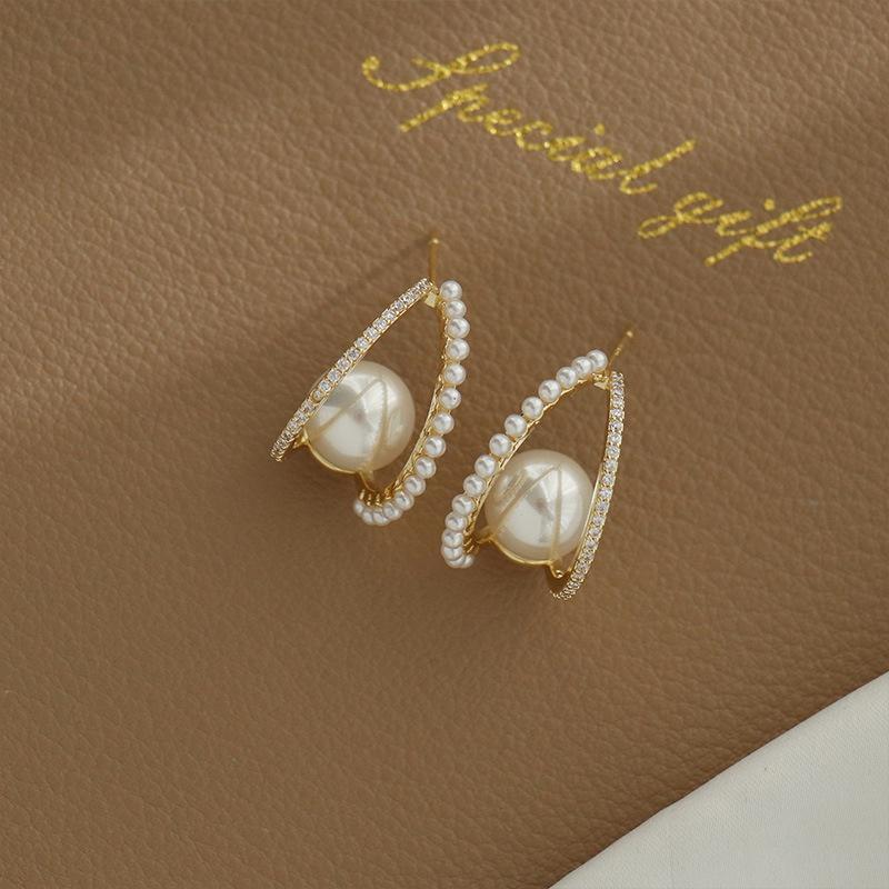 Korean Geometric Alloy Pearl Stud Earrings  NHWB362102